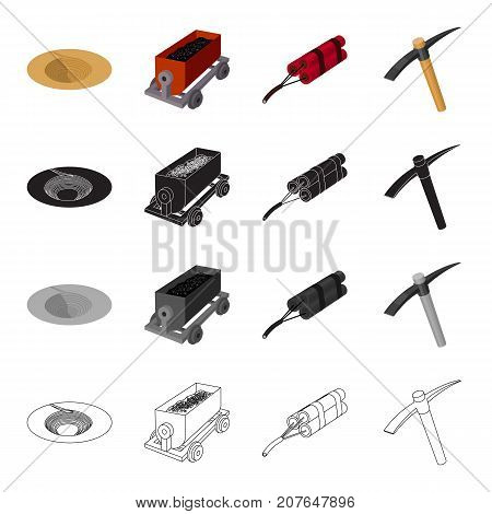 The funnel from the explosion, a trolley for the transportation of ore, an explosive, a miner's pickax. Mining industry set collection icons in cartoon black monochrome outline style vector symbol stock isometric illustration .