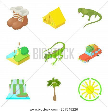 Expedition icons set. Cartoon set of 9 expedition vector icons for web isolated on white background