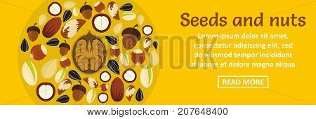 Seeds and nuts banner horizontal concept. Flat illustration of seeds and nuts banner horizontal vector concept for web design