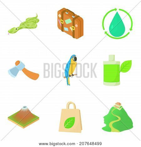 Tropical campsite icons set. Cartoon set of 9 tropical campsite vector icons for web isolated on white background