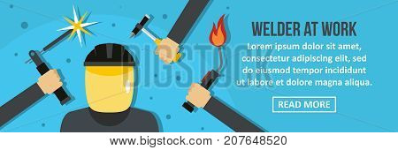 Welder at work banner horizontal concept. Flat illustration of welder at work banner horizontal vector concept for web design