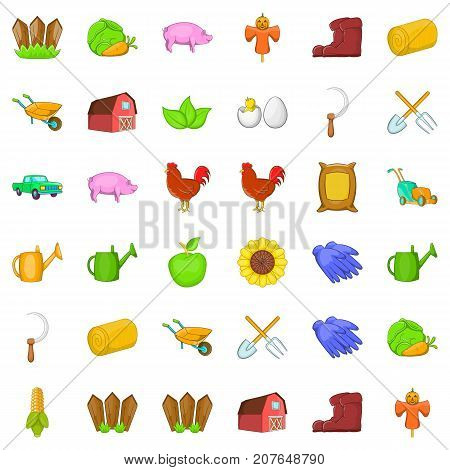 Domestic bird icons set. Cartoon style of 36 domestic bird vector icons for web isolated on white background