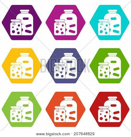Jars with pickled vegetables and jam icon set many color hexahedron isolated on white vector illustration