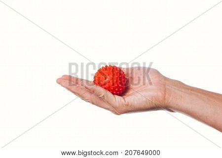 Male Hand With Stress Ball On White Background