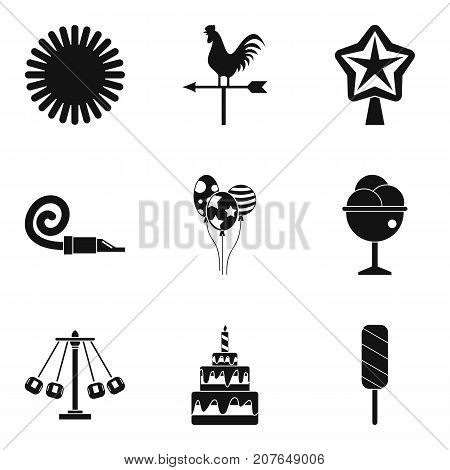 Congratulation of child icons set. Simple set of 9 congratulation of child vector icons for web isolated on white background