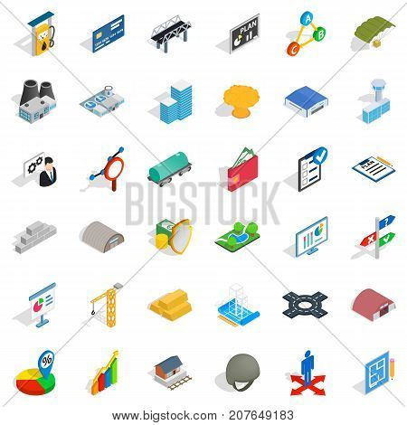 Gas station icons set. Isometric style of 36 gas station vector icons for web isolated on white background