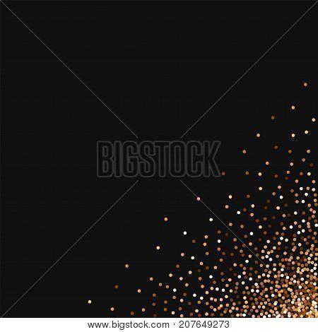 Red Round Gold Glitter. Messy Bottom Right Corner With Red Round Gold Glitter On Black Background. G