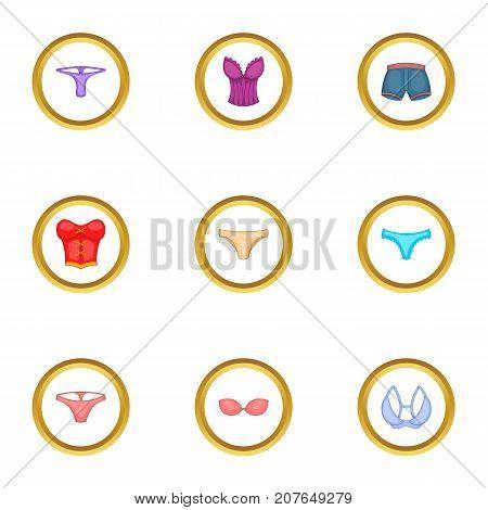 Underwear clothes icons set. Cartoon style set of 9 underwear clothes vector icons for web design