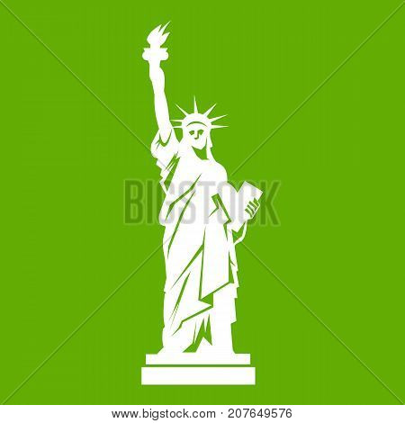 Statue of liberty icon white isolated on green background. Vector illustration