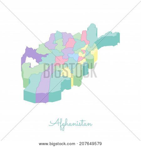 Afghanistan Region Map: Colorful Isometric Top View. Detailed Map Of Afghanistan Regions. Vector Ill