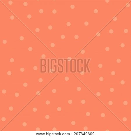 Light Polka Dots Seamless Pattern On Coral Background. Shapely Classic Light Polka Dots Textile Patt