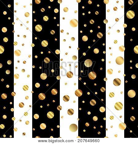 Golden Dots Seamless Pattern On Black And White Striped Background. Splendid Gradient Golden Dots En