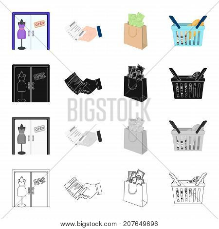Shop window, check in hand, a bag of money, a basket of food. Sale and purchase set collection icons in cartoon black monochrome outline style vector symbol stock isometric illustration .