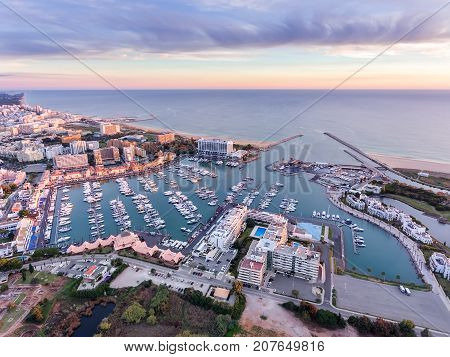 Aerial. Landscape from the sky, a tourist village Vilamoura. Faro