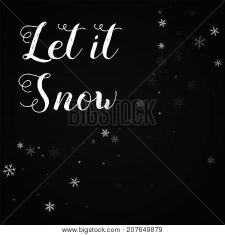 Let It Snow Greeting Card. Sparse Snowfall Background. Sparse Snowfall On Red Background.cute Vector