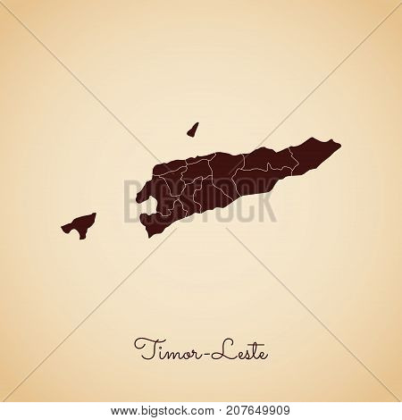 Timor-leste Region Map: Retro Style Brown Outline On Old Paper Background. Detailed Map Of Timor-les