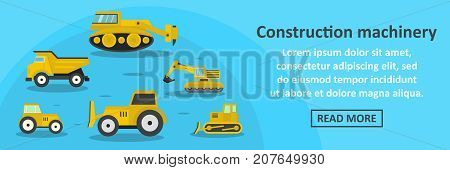Construction machinery banner horizontal concept. Flat illustration of construction machinery banner horizontal vector concept for web design