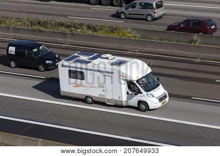 Frankfurt Germany - Sep 19 2017: Rimor Katamarano P69 mobile home on the highway in Germany