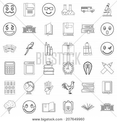 Microscope icons set. Outline style of 36 microscope vector icons for web isolated on white background