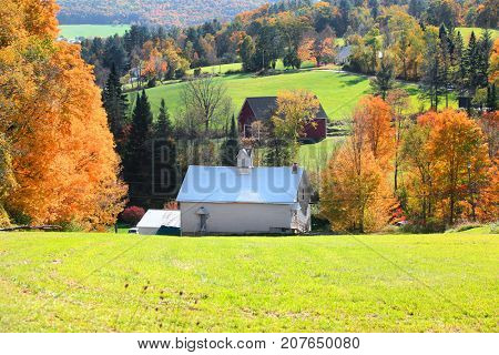 Rural Vermont landscape in Autumn time