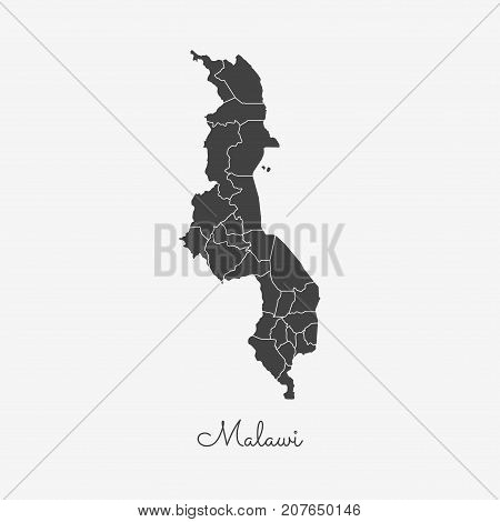 Malawi Region Map: Grey Outline On White Background. Detailed Map Of Malawi Regions. Vector Illustra