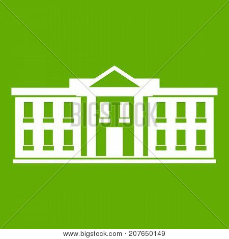 White house USA icon white isolated on green background. Vector illustration