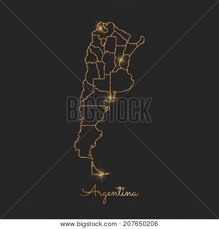 Argentina Region Map: Golden Glitter Outline With Sparkling Stars On Dark Background. Detailed Map O