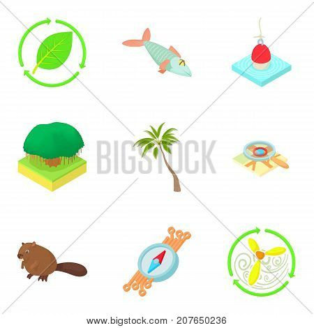 Grove icons set. Cartoon set of 9 grove vector icons for web isolated on white background