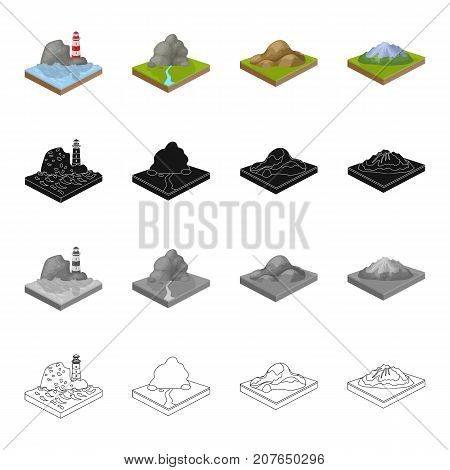 Nature, ecology, mount and other  icon in cartoon style.Mountain, hill, plain, icons in set collection