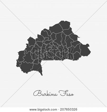 Burkina Faso Region Map: Grey Outline On White Background. Detailed Map Of Burkina Faso Regions. Vec