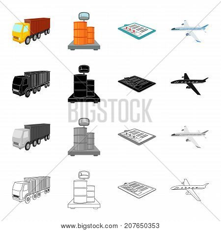 Truck, scales with barrels, delivery note, airplane. Logistics and delivery set collection icons in cartoon black monochrome outline style vector symbol stock illustration isometric .