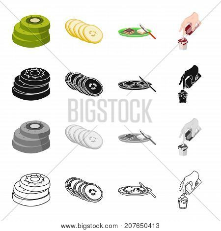 Tropical kiwi fruit, lemon, cooking sandwiches with chocolate, food dessert with cream. Fruit and dessert set collection icons in cartoon black monochrome outline style vector symbol stock illustration isometric .
