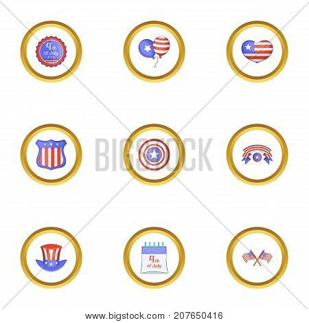 American independence day icons set. Cartoon style set of 9 american independence day vector icons for web design