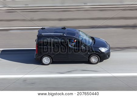 Frankfurt Germany - Sep 19 2017: Citroen Berlingo minivan driving on the highway in Germany