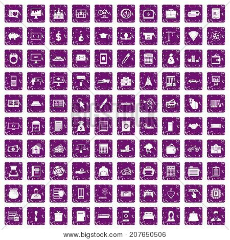 100 credit icons set in grunge style purple color isolated on white background vector illustration