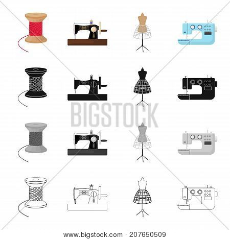 Manual sewing machine, thread reel, dummy on the stand, electric machine. Atelier and sewing set collection icons in cartoon black monochrome outline style vector symbol stock illustration isometric .