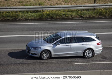 Frankfurt Germany - Sep 19 2017: Ford Mondeo Turnier estate driving on the highway in Germany