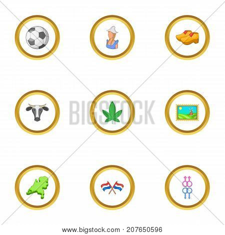 Holland icons set. Cartoon style set of 9 Holland vector icons for web design