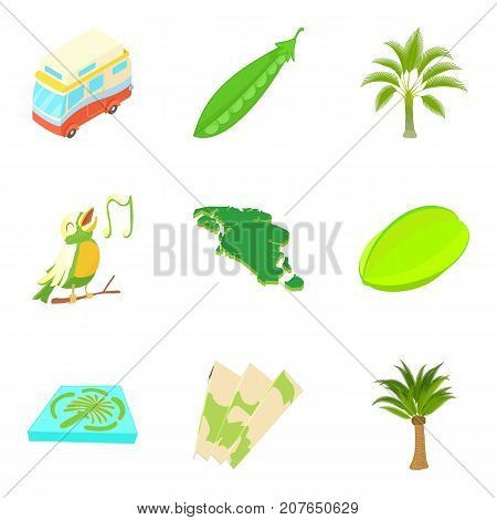 Exotic camping icons set. Cartoon set of 9 exotic camping vector icons for web isolated on white background