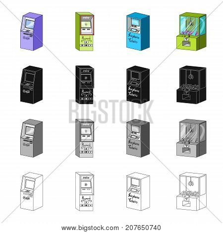 ATM, payment online, terminal for air tickets, slot machine. Different types of terminal set collection icons in cartoon black monochrome outline style vector isometric symbol stock illustration .