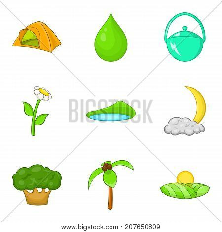 Campsite icons set. Cartoon set of 9 campsite vector icons for web isolated on white background