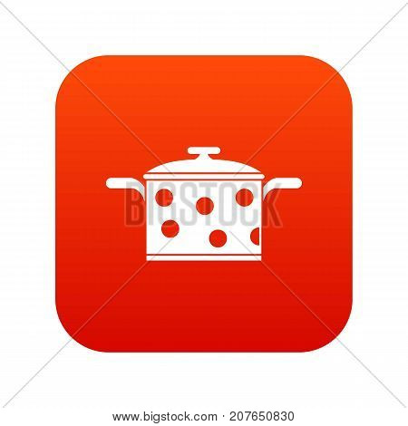 Saucepan with white dots icon digital red for any design isolated on white vector illustration