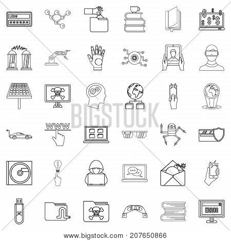 Flash drive icons set. Outline style of 36 flash drive vector icons for web isolated on white background