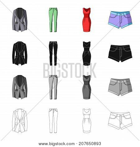 Female jacket, clothes pants, dress, shorts. Women's clothing set collection icons in cartoon black monochrome outline style vector symbol stock illustration .