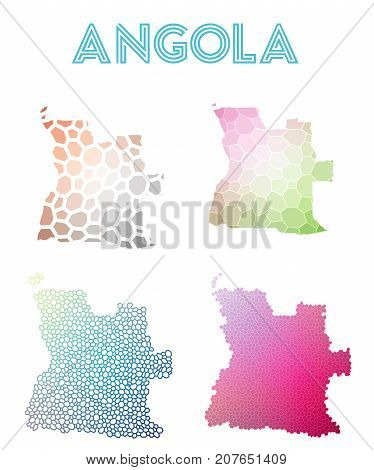Angola Polygonal Map. Mosaic Style Maps Collection. Bright Abstract Tessellation, Geometric, Low Pol