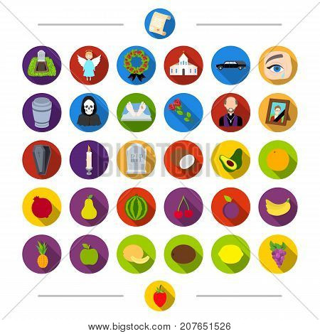 Vitamins, funeral, attributes and other  icon in cartoon style. Strawberry, berry, fruit, icons in set collection