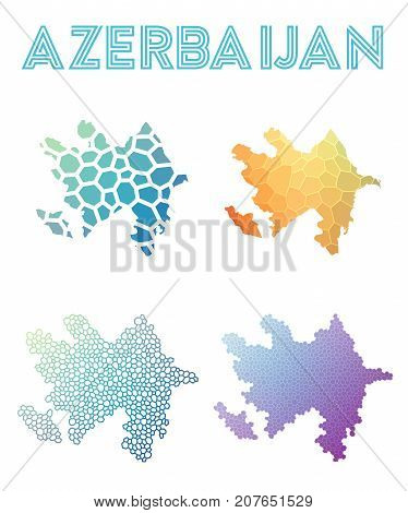 Azerbaijan Polygonal Map. Mosaic Style Maps Collection. Bright Abstract Tessellation, Geometric, Low