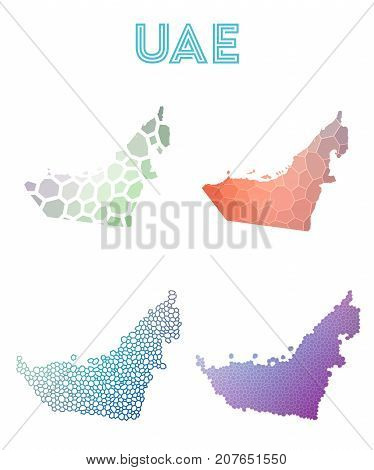 Uae Polygonal Map. Mosaic Style Maps Collection. Bright Abstract Tessellation, Geometric, Low Poly,