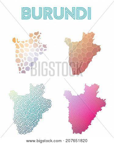 Burundi Polygonal Map. Mosaic Style Maps Collection. Bright Abstract Tessellation, Geometric, Low Po