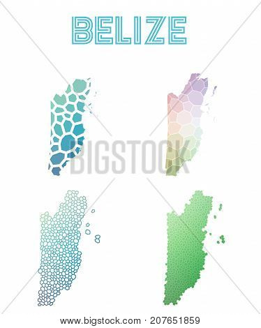 Belize Polygonal Map. Mosaic Style Maps Collection. Bright Abstract Tessellation, Geometric, Low Pol
